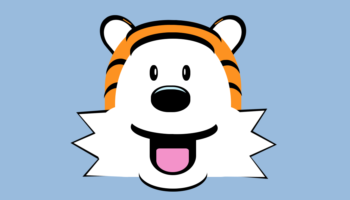 Hobbes the Tiger, from the comic strip Calvin and Hobbes, drawn with HTML and CSS.,A small plant with a white stem and light green leaves pokes out of a pastel purple vase with a pastel yellow water tray.,A gray elephant on a blue background, facing forwards, with small white toenails and white tusks.